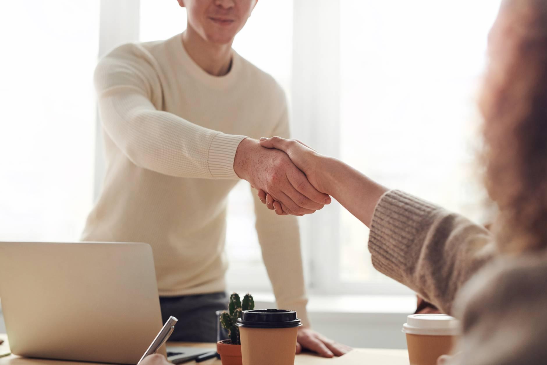 shake hands for orange and bergamot